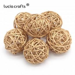Lucia rzemiosło 6 sztuk 3 cm/5 cm złoto Vintage wiklinowy trzciny cukrowej piłka boże narodzenie ogrody domu Patio Ornament DIY