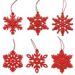 6 sztuk DIY białe i czerwone płatki śniegu boże narodzenie drewniane zawieszki ozdoby na boże narodzenie ozdoby choinkowe dekora