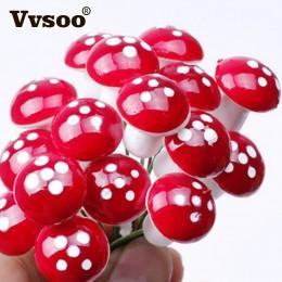 Vvsoo 12 sztuk/zestaw dekoracje świąteczne acje Mini czerwony grzyb kształt ozdoba miniaturowe roślin garnki wróżka dom wakacyjn