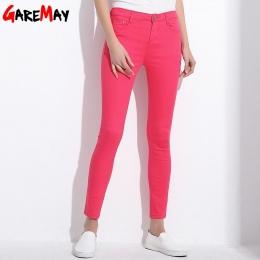 GAREMAY kobiet Cukierki Ołówkowe Spodnie Spodnie 2018 Wiosna Jesień Khaki Stretch Spodnie Dla Kobiet Slim Panie Jean Spodnie Kob