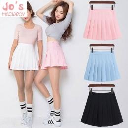 2018 Nowa Wiosna wysokiej talii ball spódnice plisowane Harajuku Denim Spódnice stałe linii sailor spódnica Plus Size Japoński m