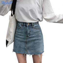 Hzirip Moda Lato Wysokiej Talii Spódnice Damskie Kieszenie Przycisk Spódnica Denim Kobiet Saias 2018 Nowy Wszystko dopasowane Do