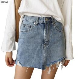 2017 Lato Jeans Spódnica Kobiety Wysoka Talia Jupiter Nieregularne Krawędzie Denim Spódnice Kobieta Mini Saia Myte Faldas Dorywc