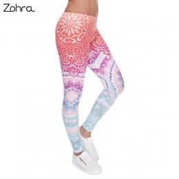 Zohra Marek Kobiety Moda Legging legginsy Aztec Okrągły Drukowanie Ombre Szczupła Wysoka Talia Legginsy Kobieta Spodnie