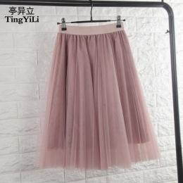 TingYiLi Tulle Spódnice Kobiet Czarny Szary Biały Dorosłych Tulle Spódnica Elastyczna Wysokiej Talii Plisowane Midi Spódnica 201