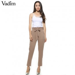 Kobiety OL szyfonowa wysokiej talii spodnie harem muszka sznurek słodkie elastyczne kieszenie w pasie dorywczo spodnie pantalone