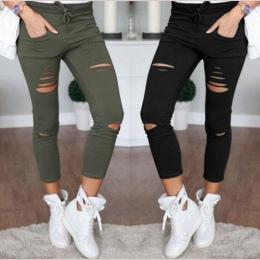 Nowy 2016 Skinny Jeans Kobiet Denim Spodnie Otwory Zniszczone Kolana Ołówek Spodnie Na Co Dzień Spodnie Black White Stretch Ripp