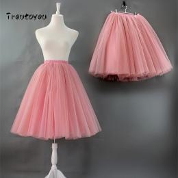7 warstw Księżniczka Midi Tulle Spódnica Plisowana Wysokiej Talii Taniec Tutu Spódnice Kobiet Rocznika Lolita Kiecka faldas rokk