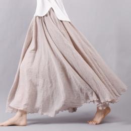 Sherhure 2018 Kobiety Pościel Bawełniana Długie Spódnice Pasie Plisowana Maxi Spódnice Plaża Boho Vintage Letnie Spódniczki Fald
