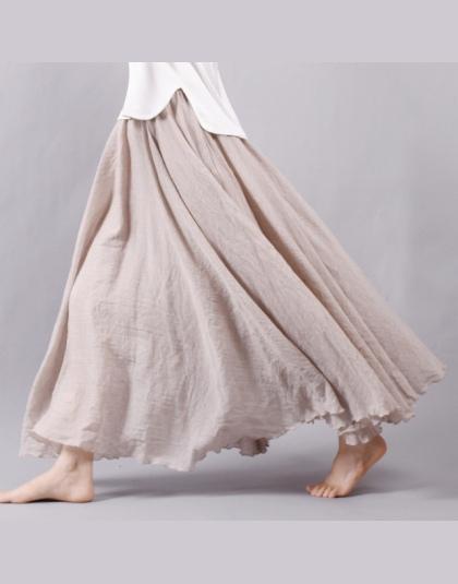 ff500ba4 Sherhure 2018 Kobiety Pościel Bawełniana Długie Spódnice Pasie Plisowana  Maxi Spódnice Plaża Boho Vintage Letnie Spódniczki Fald