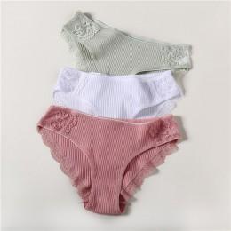 Majtki bawełniane 3 sztuk/partia stałe kobiety majtki komfort bielizna przyjazny dla skóry majtki dla kobiety Sexy Low-wzrost ma