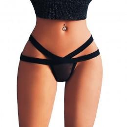 Sexy bandaż g string stringi majtki damskie seksowna bielizna Mesh stringi figi bielizna-majtki bez szwu bielizna bielizna