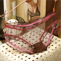 Hot sprzedaż kobiety Sexy majteczki koronkowe stringi ultra-cienka siatka przezroczyste Sexy Bragas Mujer damskie miękkie majtki