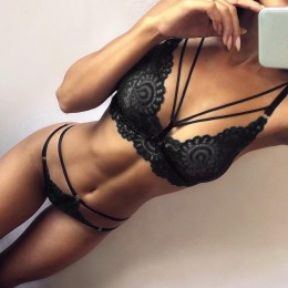 Seksowny zestaw bielizny damskiej modna zmysłowa stanik stringi koronka strapsy paski wycięcia kolor wina czerni
