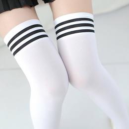 Sexy Medias Moda Paski Kolana Skarpety Damskie Bawełniane Udo Wysoki Over The Knee Pończochy dla Pań Dziewczyn 2017 Ciepły Długi
