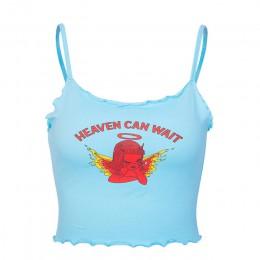 Raisevern śliczne kobiety Crop Top niebo może czekać druku niebieski Tee topy Harajuku lato topy przycięte Cami Tank Top Dropshi