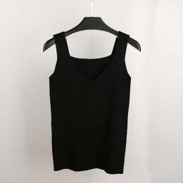 GOPLUS Sexy V Neck z dzianiny Crop Top koszula damska Plus rozmiar bez rękawów bielizna Top kobiety Casual Streetwear odzież dla