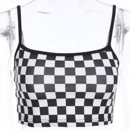 Sexy w kratkę przycięte Top 2019 lato Streetwear bez rękawów szachownica Tank Tops Tees koszula Strappy Plaid Camis Streetwear