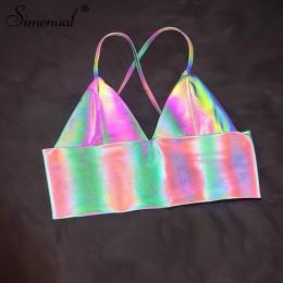 Simenual V Neck Sexy holograficzny Bralette Crop Top pasek odblaskowa moda Camis gorące lato 2019 bez rękawów Backless Tank Tops