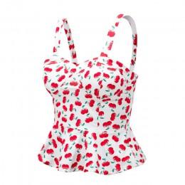 JYConline kwiatowy gorset Crop Top lato bluzka damska Top krótka kamizelka Sexy Camis kobiet topy przycięte Feminino Ruffles biu
