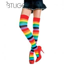 Damskie Pończochy BTLIGE Śliczne Bawełniane Udo Wysoki But Mieszane Kolorowe Rainbow Paski Długie Pończochy Z Dzianiny Damskie O