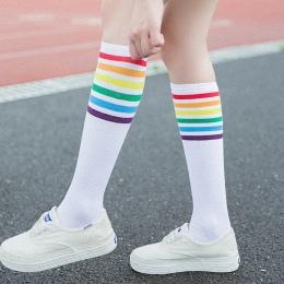 Japoński kobiet Rainbow Striped Pończochy Spadek Śliczne Kobiety Studenci Dziewczyny Kolorowe Paski Czarne Białe Bawełniane Skar
