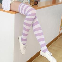 Moda Knee Socks Pończochy dla Kobiet Boże Narodzenie Halloween Nowy Kobiety Striped Pończochy Kobiece Bawełniane Udo Wysoki Pońc