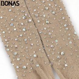 BONAS 2019 Hot Sexy otwarte krocza kabaretki rajstopy damskie radość diament Mesh pończochy Lady błyszczące Rhinestone nylony ra