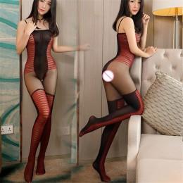 Bielizna damska erotyczna seksowny komplet z elastanu na ramiączkach body rajstopy pończochy czarno czerwone w paski