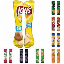 1 para śmieszne Unisex mężczyźni skarpetki kobiety drukowanie chipsy ziemniaczane kolana wysokie skarpetki bawełniane sztuki dłu