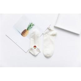 Rozmiar 35-42 Kawaii kobiety skarpetki szczęśliwy moda kostki śmieszne skarpetki damskie bawełniane haftowane wyrażenie cukierki