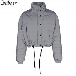 Nibber zima moda odblaskowe krótkie ciepłe kobiety płaszcz kurtki krótka kurtka top szary kolor nowe panie Parka wiosna panie pł