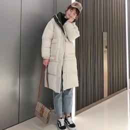Z kapturem damskie płaszcz długie płaszcze Parka oversize kolor kurtka średniej długości kobiety zima gruba kurtka w dół kurtki
