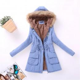 Kobiet Parka nieformalne okrycie wierzchnie jesień zima wojskowy płaszcz z kapturem kurtka zimowa futra damskie damskie kurtki z