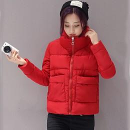 2019 kurtka kobiety moda zima ciepłe grube stałe krótki styl bawełny wyściełane parki stojak na płaszcze kołnierz XL XXL