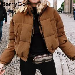 BerryGo dorywczo sztruks gruby parka płaszcz zimowy ciepłe moda odzież wierzchnia płaszcze kobiety oversize streetwear kurtka pł