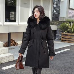 Nowych kobiet długi płaszcz jesień zima ciepłe aksamitne zagęścić Faux futro płaszcze Parka kobiet stałe duża kieszeń kurtka zno