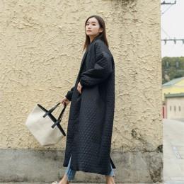 LANMREM nowa moda czarny Oversize klapy powrót Vent przycisk kurtka zimowa 2018 damska długi bawełny płaszcz Jaqueta Feminina WT