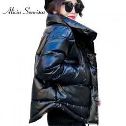 Błyszcząca kurtka na zimę bawełniana puchowa dla kobiet gruba ciepła jasna czarna żółta czerwona