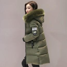 Parka kobiety zimowe płaszcze długie bawełniane na co dzień futro kurtki z kapturem kobiety grube ciepłe zimowe parki kobiet pła