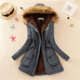 Nowe długie parki kobiet damska kurtka zimowa płaszcz gruby ciepła kurtka bawełniana kobiet znosić parki Plus rozmiar futra płas