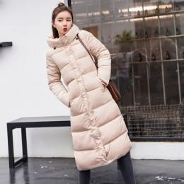 Plus rozmiar 3XL w dół kurtki 2019 moda kobiety płaszcz zimowy długi Slim zagęścić ciepła kurtka dół bawełny kurtka watowana zno