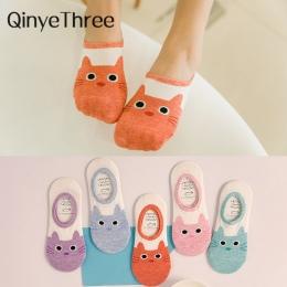 Śliczne harajuku druku kot skarpetki kobiety lato koreański zwierząt śmieszne słodkie low cut sokken szczęśliwy cukierki kolor k