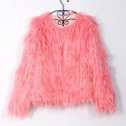 Moda futrzane Faux Fur Coat kobiety puszyste ciepłe z długim rękawem damska odzież wierzchnia jesień płaszcz zimowy kurtka owłos