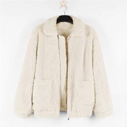 Kobiety grube ciepłe futro kurtka z owczej wełny jesień zimowy zamek błyskawiczny płaszcz skręcić w dół kołnierz kieszeń codzien