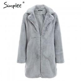 Simplee elegancki różowy shaggy kobiety faux fur coat streetwear jesień zima ciepłe pluszowe pluszowy płaszcz kobiet plus rozmia