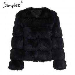 Simplee Vintage puszyste futro płaszcz kobiety krótkie futrzane futro zimowe odzieży wierzchniej różowy płaszcz 2018 jesień na c
