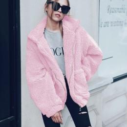Elegancki Faux Fur Coat kobiety 2019 jesień zima gruby ciepły miękki polar kurtka kieszeń na zamek odzież wierzchnia płaszcz nie