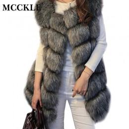 Zima bez rękawów Faux futro damskie kamizelka Plus rozmiar 4XL lisa luksusowe ciepłe kobiet kamizelki płaszcze 2019 kobiet szary