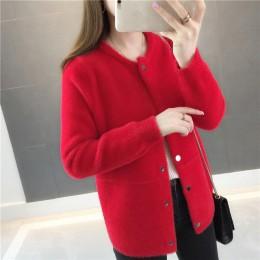 Futro z norek jesień i zima sweter płaszcz 2019 kobiet nowej luźne aksamitne z długim rękawem sweter